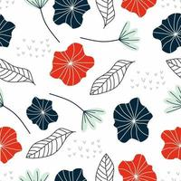 Seamless pattern of flower and leaf vector illustration pretty