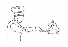 Continuous one line drawing of chef cooking vector illustration.