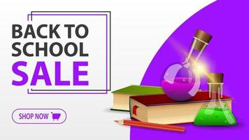 Back to school sale, white banner with books and chemical flasks vector