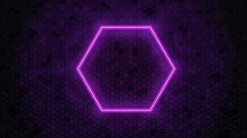 Neon hexagon frame. Geometric hexagon shape. Vector illustration.