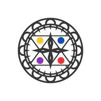 Compass with pentagram concept design vector