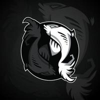 two fish form a yin yang symbol vector