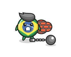 mascota de carácter de la insignia de la bandera de Brasil como prisionero vector