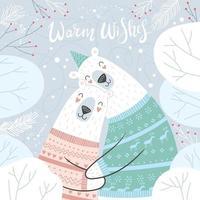 Merry Christmas and holidays card with cute hugging polar bears. vector