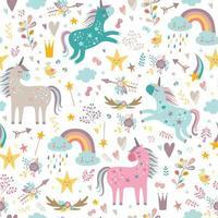 Childish seamless pattern with unicorns. Creative nursery background. vector