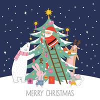 Merry Christmas and holidays card with cute Santa Claus vector