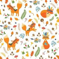 Vector seamless pattern with cute tribal foxes, autumn floral elements