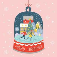 Merry Christmas and Holidays card with skating cute couple vector