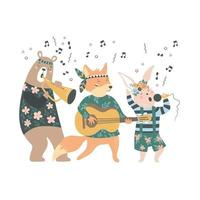 Cute cartoon bohemian animals musicians with different instruments vector
