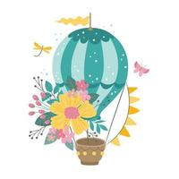 Cute hot air balloon with beautiful flowers, garland with flags vector