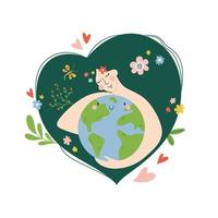 Young Beautiful Woman Hold Planet Globe. Save Healthy Green Nature vector