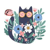 Cute cartoon cat in glasses with hand drawn flowers, butterfly vector