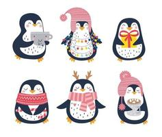 Hand drawn vector set of cute funny penguins