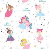 Cute ballerina with sweet unicorn childish seamless pattern. vector