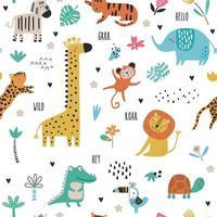 Seamless childish pattern with cartoon jungle animals vector