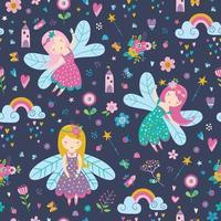 Vector seamless childish pattern with fairy, flowers, rainbow