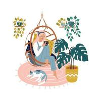 Relaxed beautiful woman sitting in comfy hanging chair vector