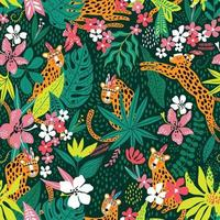 Leopard pattern with tropical leaves. Vector seamless texture
