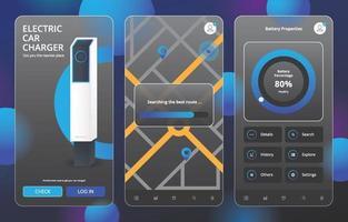 Glassmorphism UI Car Charger Pod Design Kit Template vector