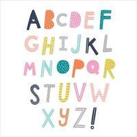 Scandinavian vector alphabet for kids. Hand drawn graphic font.