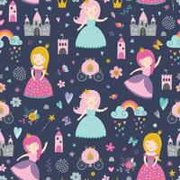Childish seamless pattern with princess, castle, carriage vector