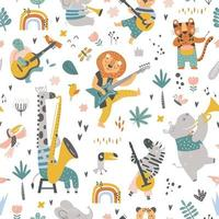 childish pattern with cartoon jungle animals and different instruments vector