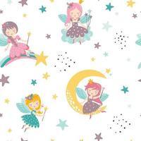 Vector seamless childish pattern with fairy, moon, stars