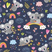 Vector seamless pattern with cute koala.