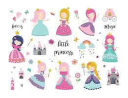 Vector set of beautiful princess, castle, carriage, rainbow, crown