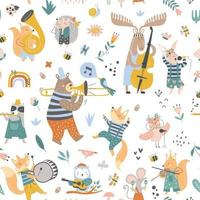 Vector pattern with cute animals playing on different instrument