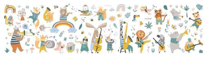 Isolated set with cute animals playing on different music instruments vector