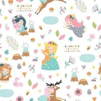 Childish seamless pattern with forest fairies and baby animals vector