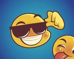 happy emoji with sunglasses over sunburst background design vector