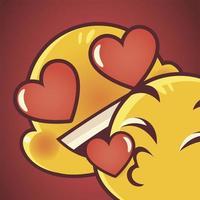 emoji faces expression funny kiss love romantic vector