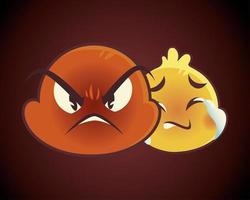 emoji faces expression funny smile happy angry mood sad vector