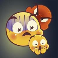 emoji faces expression funny smile happy angry mood sad set vector