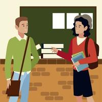 students characters talking with books education vector