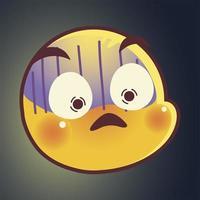 emoji divertido, emoticon asustado expresión de la cara redes sociales vector