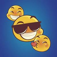 emoji faces expression reaction social media kiss happy and sunglasses vector