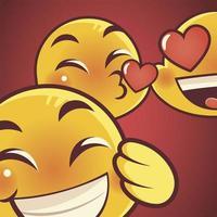 funny emoji, emoticon faces love kiss and happy expression vector