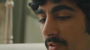 Close up of man talking vividly video