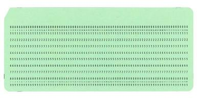 Punched card for programming photo