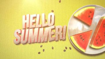 Text Hello Summer and closeup watermelon on yellow summer background video