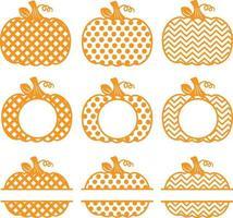 Pumpkin Monogram, Orange polka dot, shavron, and cross style. vector