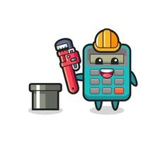Character Illustration of calculator as a plumber vector