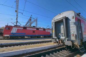 Trans Siberian railway track platform view and blue sky, Russia photo