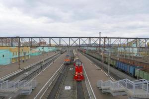 Trans Siberian railway track platform view and cloudy sky, Russia photo