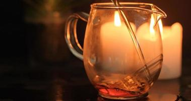 close up of china tea ceremony with candles video