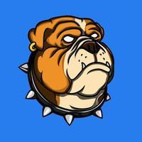 mascota cabeza de bulldog vector