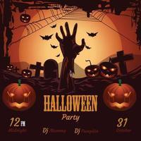 letras de fiesta de halloween con fecha, calabazas, mano, luna y miedo vector